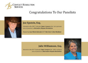Congratulations Joe Epstein and Julie Williamson